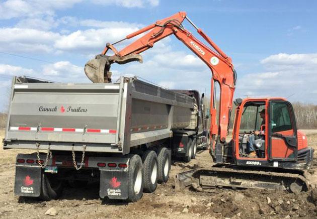 Dozer and Dump Truck